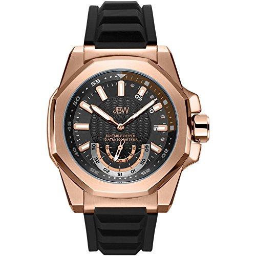 JBW Delmare Reloj de Hombre Diamante Cuarzo 50mm Correa de Silicona J6359B