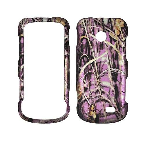 2D Pink Camo Grass Samsung T528g Straight Talk Case Cover Hard Phone Case Snap-on Cover Rubberized Touch Faceplates