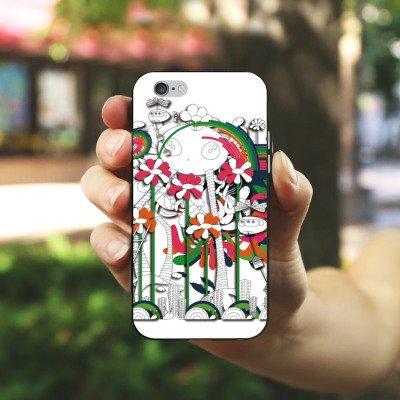Apple iPhone X Silikon Hülle Case Schutzhülle Fantasie Blumen Traumwelt Silikon Case schwarz / weiß