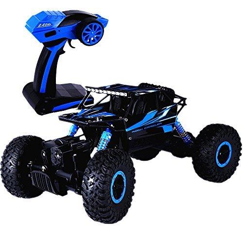 SKM HB P1803 RC Car Voiture Télécommande 2.4GHz 1:18 Échelle 4WD à Quatre Roues Voiture Tout Terrain Jouet Télécommande de Course pour Garçons, Bleu avec Chargeur