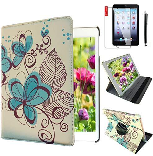 iPad Schutzhülle für Apple iPad For Ipad 4/3 / 2 Blue-Flower Design (Apple Ipad 2-case Blue)