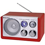 Roadstar HRA-1200/N Retro Design Radio mit blauer Anzeigenbeleuchtung rot