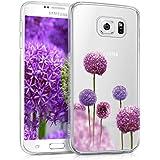 kwmobile Hülle für Samsung Galaxy S6 / S6 Duos - TPU Silikon Backcover Case Handy Schutzhülle - Cover klar Blume Kugel Design Pink Violett Transparent