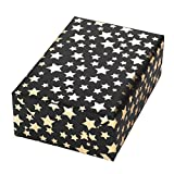 Geschenkpapier Rolle 50 cm x 50 m, Motiv Diadem Schwarz, Sterne-Design auf Goldenem Metallic-Papier mit Fond in schwarz. für Geburtstag, Weihnachten. Weihnachtsgeschenkpapier