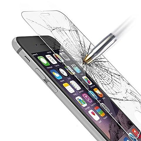 Film vitre de protection écran iPhone 6/6S ( 4,7 pouces) en verre trempé haute transparence et ultra résistant (incassable, inrayable 9H) et Ultra Slim (0.3mm) avec bords arrondis, pour une protection optimale de votre téléphone iphone 6/6S (4.7