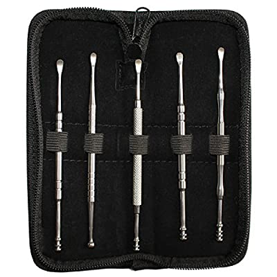 5 Piece Stainless Steel Wax Removal Ear Cleaner Pick Set with Case and Cleaning Cloth by Bizarre.ly - Kit Includes Spiral, Ball and Spoon/Scoop Style Picks - Helps Prevent Wax Build up and Infection