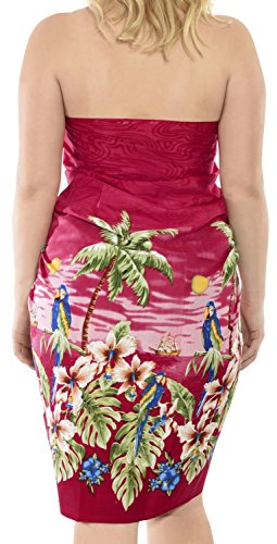 La Leela Frauen Pareo likre Blick auf den Strand Palme Badeanzug Sarong 78x39 Zoll wickeln Rot