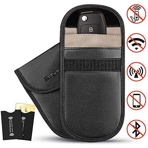 ACENTIX 2 x Car Key Signal Blocking Pouch Faraday Bag for Car keys,Keyless Car