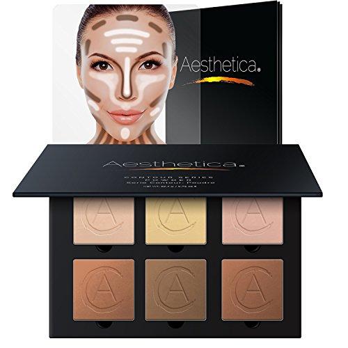Palette / kit de poudres de fond de teint de contour et de surlignage d'Aesthetica Cosmetics ; consignes étape par étape faciles à suivre incluses