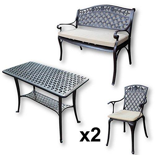 Lazy Susan - BBQ Grillparty Beistelltisch mit 1 ROSE Gartenbank und 2 ROSE Stühlen - Gartenmöbel Set aus Metall, Antik Bronze (Beige Kissen)