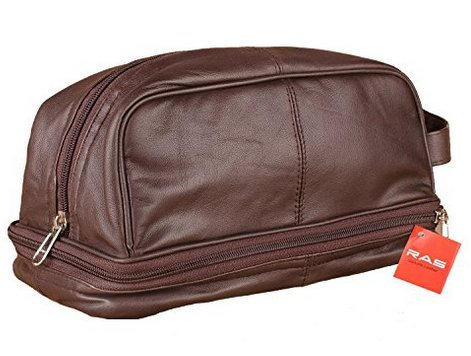 RAS-Mens-Genuine-Leather-Travel-Overnight-Wash-Gym-Toiletry-Bag-Black-Brown-3530
