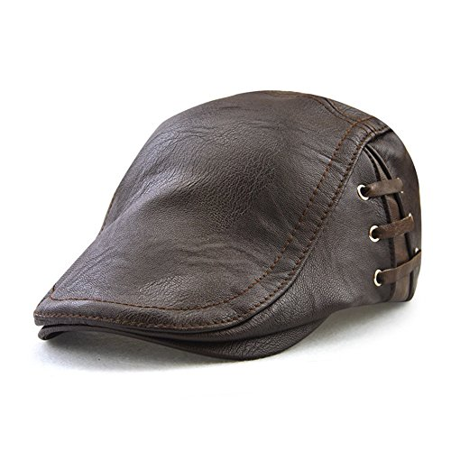 Roffatide Correas Cuero de PU Ajustable Plano Gorra Sombrero de Boina Golf Chapelas Otoño Invierno Marron Oscuro