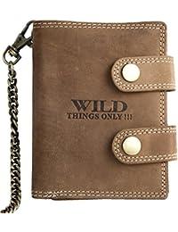 Portefeuille Wild, brun, pour homme, en cuir véritable naturel résistant, avec chaîne en métal