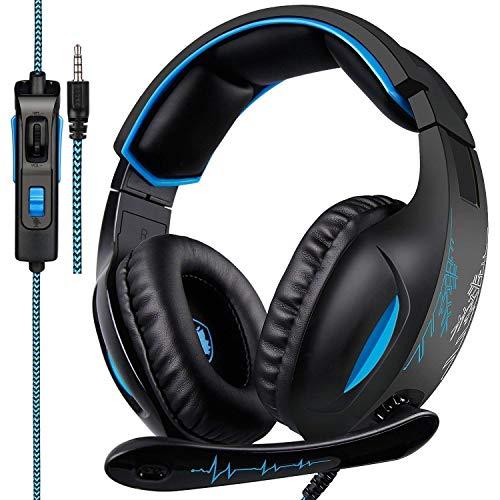 SADES SA816 Gaming auriculares para PS4, Xbox uno, PC, controlador, sobre los auriculares de sonido envolvente bajo con ruido de cancelación de micrófono, orejeras de memoria suave para PlayStation 4 ordenador Mac portátil Nintendo switch juegos