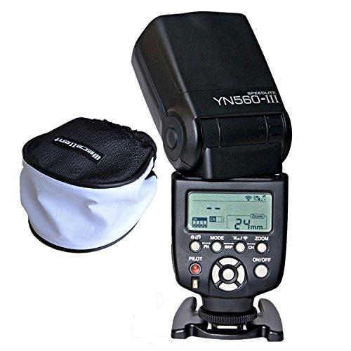 Yongnuo YN560-III YN560 III Aufsteckblitz Blitzgerät mit Wecellent Mini Softbox Diffusor für Canon Nikon Olympus Panasonic Pentax