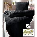 Schwarze Seersucker Mikrofaser Bettwäsche mit Reißverschluss | 135x200 | Bettgarnitur schwarz