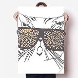 HUAIX Home Leopardenmuster Sonnenbrille Katze Kopf Tier Vinyl Wandaufkleber Poster Wandbild Tapete Zimmer Aufkleber 80X55 cm