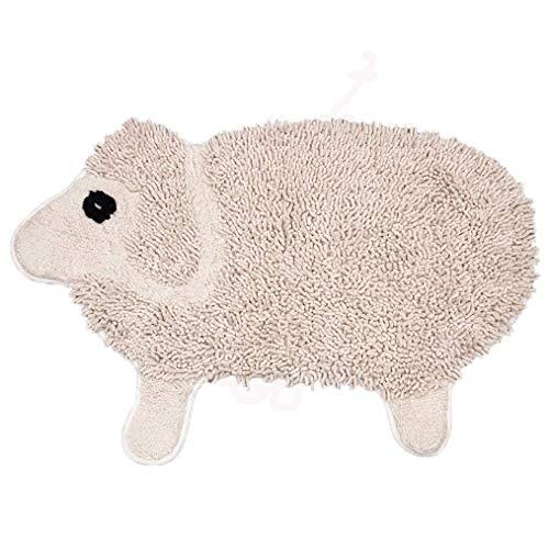 GuoEY Ovale Shag Chenille-Teppichmatte Mit Nettes Karikaturlamm, Das Design Modelliert Bequeme Weiche Kinder-Bad-Wolldecke Nicht rutschfest Wasseraufnahme Decke Werfen Teppiche Mat 60X90Cm,Beige -