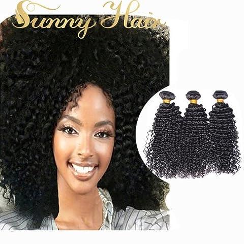Sunny 300g Tissage Boucle Naturel Tete Pleine Cheveux Bresilien Vierges Boucles Crepus 10,12,14 Pouces/25,30,35cm Kinky Curly Weaving