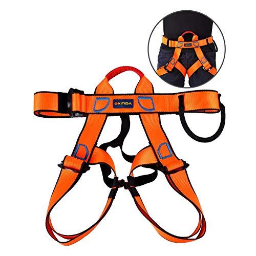 Yundxi Imbracatura di Sicurezza per Arrampicata su Roccia, Alpinismo, Attrezzatura da Arrampicata e Arrampicata, Orange