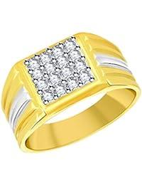Vidhi Jewels Gold Plated Unique Pattern Diamond Studded Brass Finger Ring For Men & Boys [VFR320G]