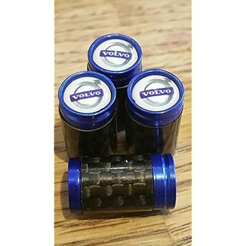 Volvo Blanco Top Azul y fibra de carbono válvula de rueda Dust Caps desde US SOLO XC90XC70XC60V70V60V40S80S60