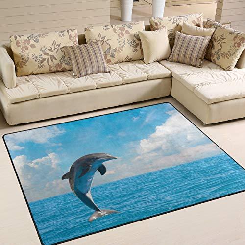 Use7 Teppich, Delfin, Blau, Himmel, Ozean, für Wohnzimmer, Schlafzimmer, Textil, Multi, 203cm x 147.3cm(7 x 5 feet) -