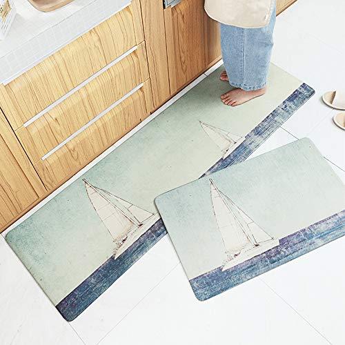 AZUO 3 Stück Zum Verkauf Haushalts Leder Teppich Marmorierung Küchen Streifen Wasserdicht Rutschfeste Ermüdungs Matte Fußkissen,B,S