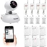 Cámara IP inalámbrica, sistema de seguridad con alarma para el hogar, videovigilancia WiFi con visión nocturna, cámara móvil con sensor de puerta mediante detector de infrarrojos y mando a distancia