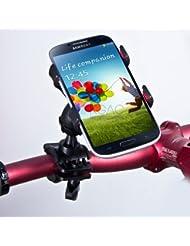 SAVFY® Universel Support guidon Vélo & Moto Téléphone Portable Compatible Apple iPhone 6 , iPhone 6 plus , iPhone 5S & iPhone 5C & iPhone 5 & iPhone 4S / Samsung Galaxy S5 & S4 & S3 & Galaxy Note III & Note II & Note 1 & Galaxy Core Plus & Core 4G & Trend Lite / HTC / Sony Xperia / Nokia / LG / GPS TomTom & Garmin et d'autres appareils …