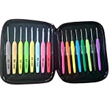 Vejaoo 16pcs High Quality Aluminum Crochet Hook Set Knitting Needles With Colorful Plastic Handles (Office Product)