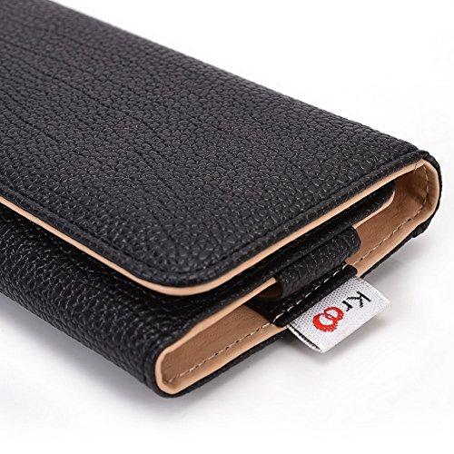 Kroo Pochette Téléphone universel Femme Portefeuille en cuir PU avec dragonne compatible avec LG aka/L Prime Multicolore - Violet/motif léopard noir - noir