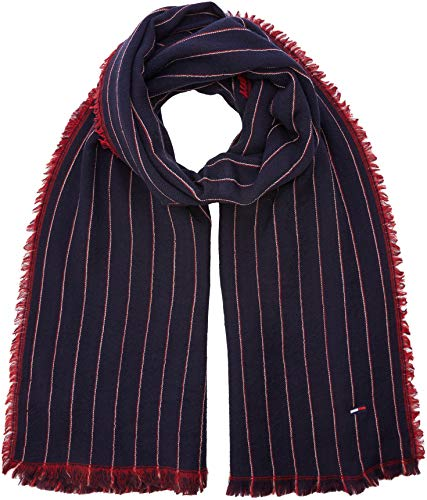 Tommy Hilfiger Double Sided Stripes Scarf Bufanda, Azul Tommy Navy/Tommy Red 902, Talla única Talla...