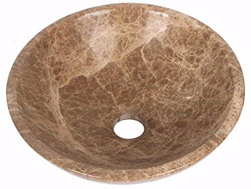 Lavabo en marbre emperador clair Bol de Salle de Bain Compteur 300 mm Diamètre (b0053)