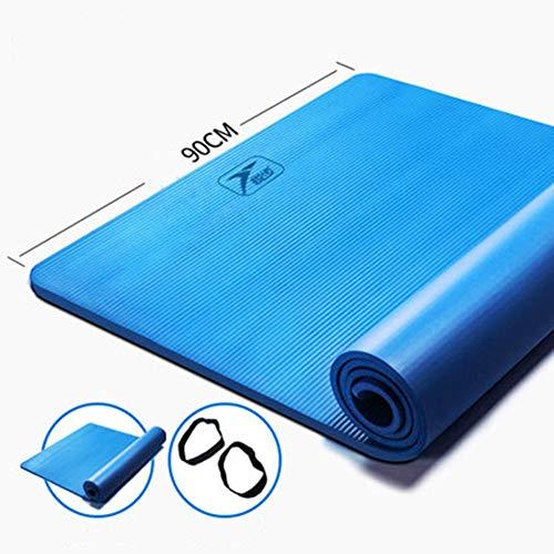 Yogamatte Fitnessmatte Tanzmatte - verlängert - verdickt - 15 mm rutschfest 185 x 80 cm Stretch - Sit-Up - Camping - Picknick, blau, 185x90