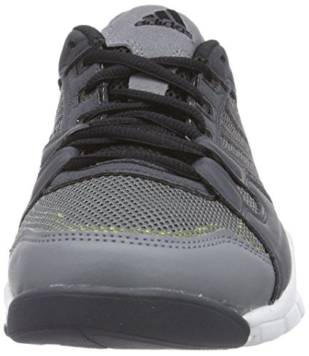 adidas Gym Warrior, Low-Top Sneaker homme gris (Vista Grey S15/Core Black/Semi Solar Yellow)