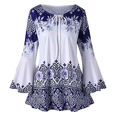 MOIKA Damen Tshirt O-Ausschnitt Locker Mode Frauen Plus Größe Gedruckt  Flare Sleeve Tops Blusen Schlüsselloch T-Shirts aa9ef0dd22