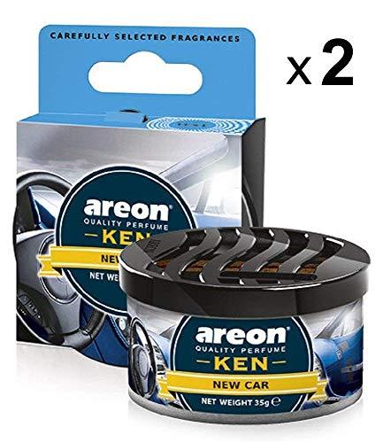 Areon Ken Lufterfrischer Auto New Car Duft Neues Autoduft Dose Neuwagen Duftdose Erfrischer Wohnung 3D Set Pack x 2 -