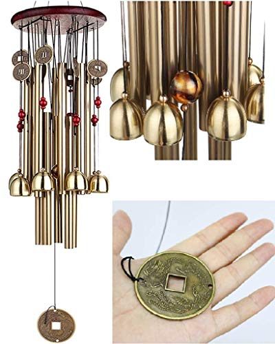 Techtest Vastu Wind Chime Metal Hanging Bells Tubes Home Decor for Positive Energy Windchime Living Room Good Day Luck Balcony Garden Indoor Outdoor with Good Sound Kitchen Pipe Decoration Positivity