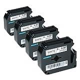Logic-Seek 4 Schriftbänder kompatibel für Brother MK-221, P-Touch 55 60 65 75 80 85 90 110 BB4 9mm/8m - Schwarz auf Weiß (Thermofarbband)
