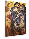 Franz Marc - der Turm der Blauen Pferde - 2-20x30 cm - Textil-Leinwandbild auf Keilrahmen - Wand-Bild - Kunst, Gemälde, Foto, Bild auf Leinwand - Alte Meister/Museum