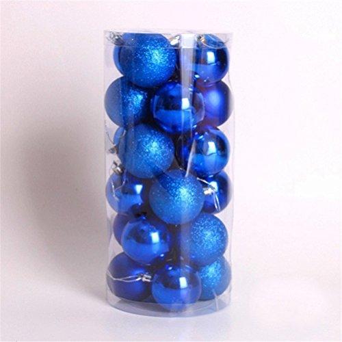 LUOEM Weihnachtsbaum Anhänger Kugeln Ornament bruchsicher Weihnachten Kugeln Dekoration Pack von 24 (blau) Blaue Kugel Ornamente