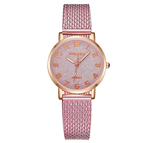 XZDCDJ Damen Uhr Armbanduhr Bracelet Jungen Uhr Frauen Casual Quarz Kunststoff Lederband Sternenhimmel ArmbanduhrRosa744 (Dekorierte Kunststoff-taschen)