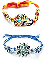 VIBHAVARI Elegant Rakhi for Beloved Brother, Free SIze (Golden, DRK_18_1) - Pack of 2