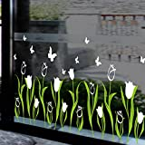 Tulip flowers warm flowers shop window glass decals skirting Corner line wall stickers,white
