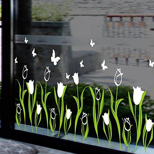 Tulip fiori caldo negozio di fiori di vetro per finestra decalcomanie angolo battiscopa linea adesivi parete,bianco
