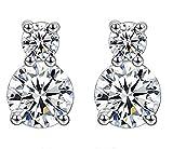 Joyfulshine Femmes Brillant Crystal Clous Bear Boucles d'Oreilles 925 Argent Sterling avec Zircone pour Dames Filles