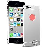 Semoss Premium Espejo Funda Aluminio Carcasa Case para Apple iPhone 5C Ultra Thin Mirror Efecto Metal Bumper Hardcase Shell Cover - Silver