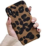 LAPOPNUT Coque iPhone XS Max Fourrure Léopard, Coque iPhone XS Max Poilue, Coque...