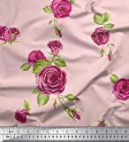 Soimoi Rosa Samt Stoff Blätter & Austin Rose Blume